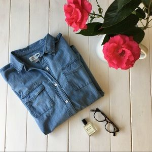 Chambray Button Down Long Sleeve Top